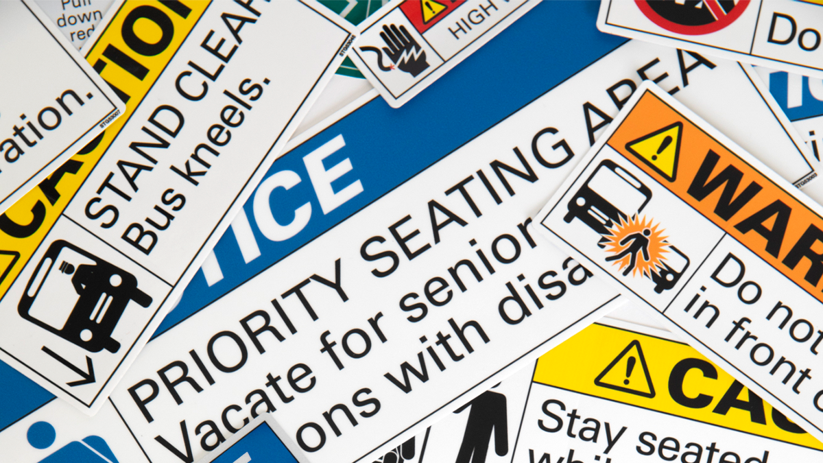 Transit vehicle and bus safety and caution decals