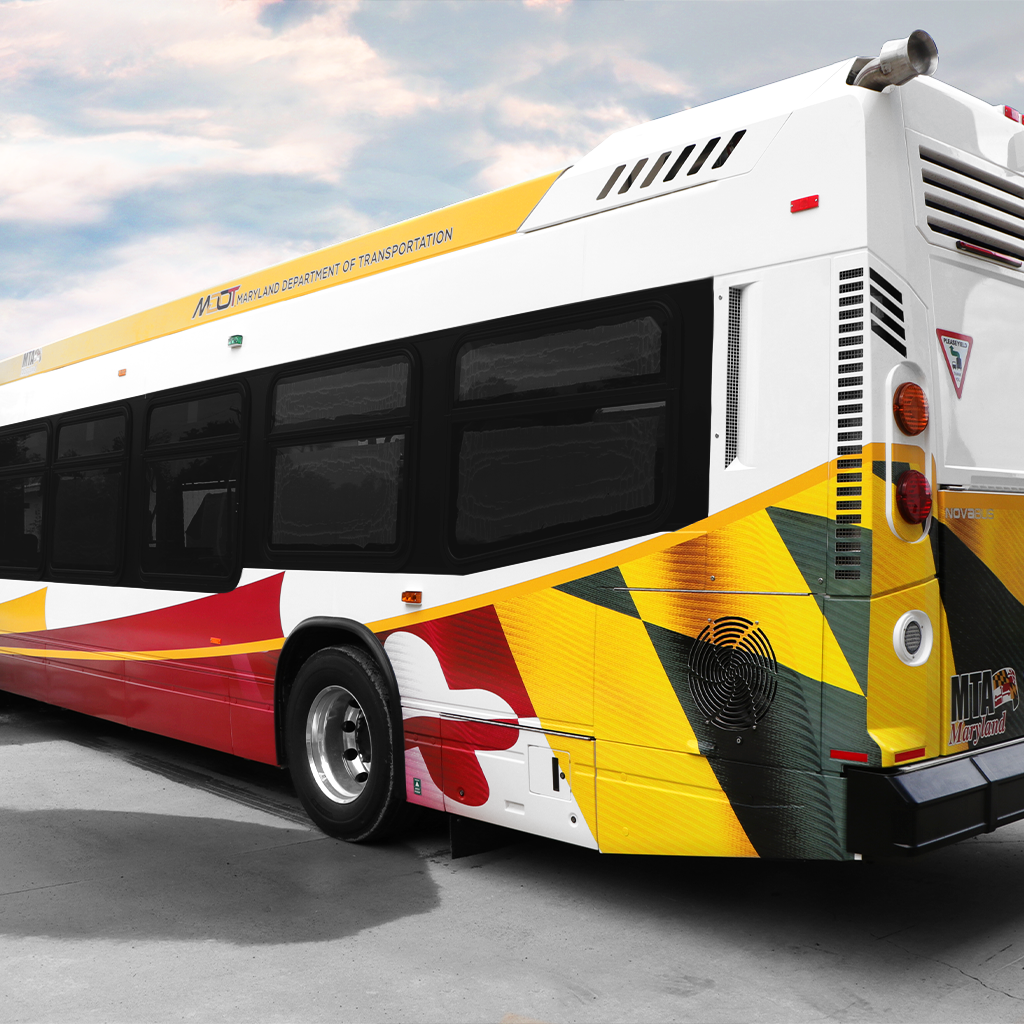 Large format digitally printed transit bus livery