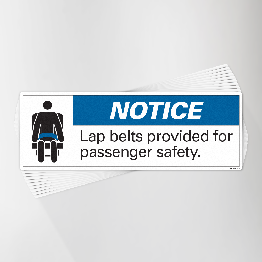 Lap Belts Provided for Safety Decal Pack